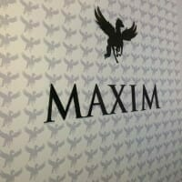 Maxim Hall Chadwick - Black acrylic lettering and printed wallpaper